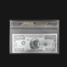 Оптовая продажа, цветные американские банкноты, один миллион долларов, банкноты, покрытые 24-каратным золотом, с пластиковой оправой для под...