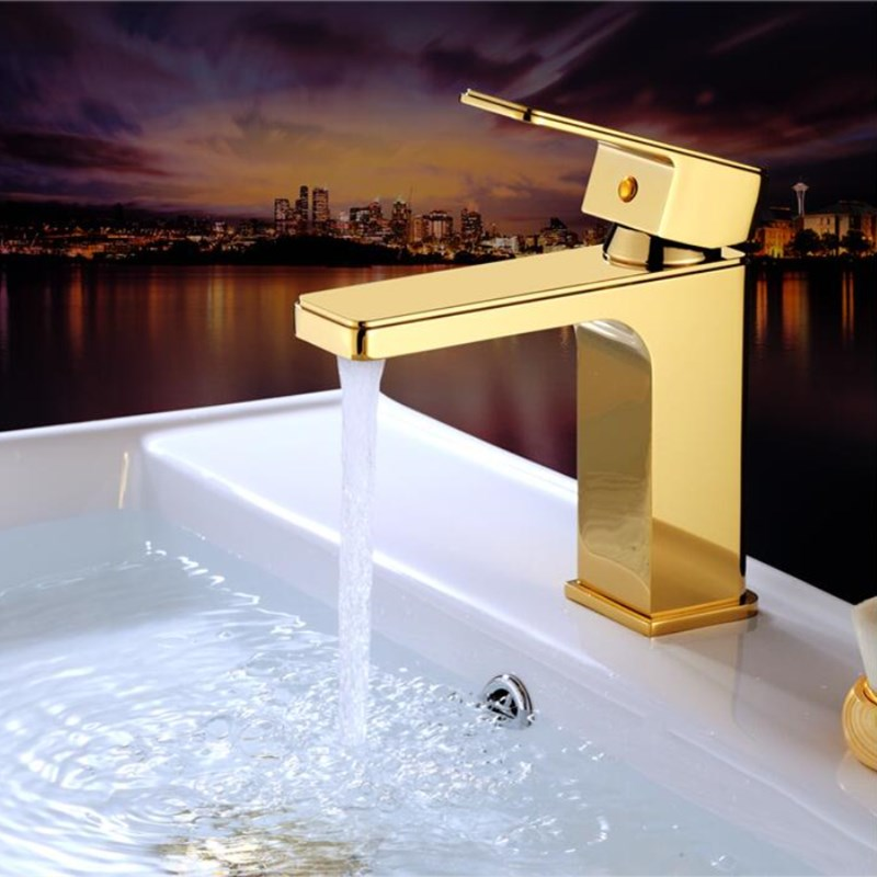 New Arrival brass square Basin Faucet hot and cold single lever gold finished bathroom sink faucet lavatory tap new arrival white chrome gold red orange black finished bathroom single lever hot and cold sink faucet basin tap mixer