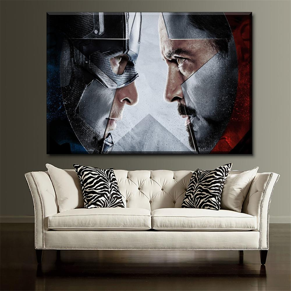 1 Piece Captain America And Iron Man Civil War Movies Poster Wall Art Decor Picture Canvas Printing Type Painting No Frame image
