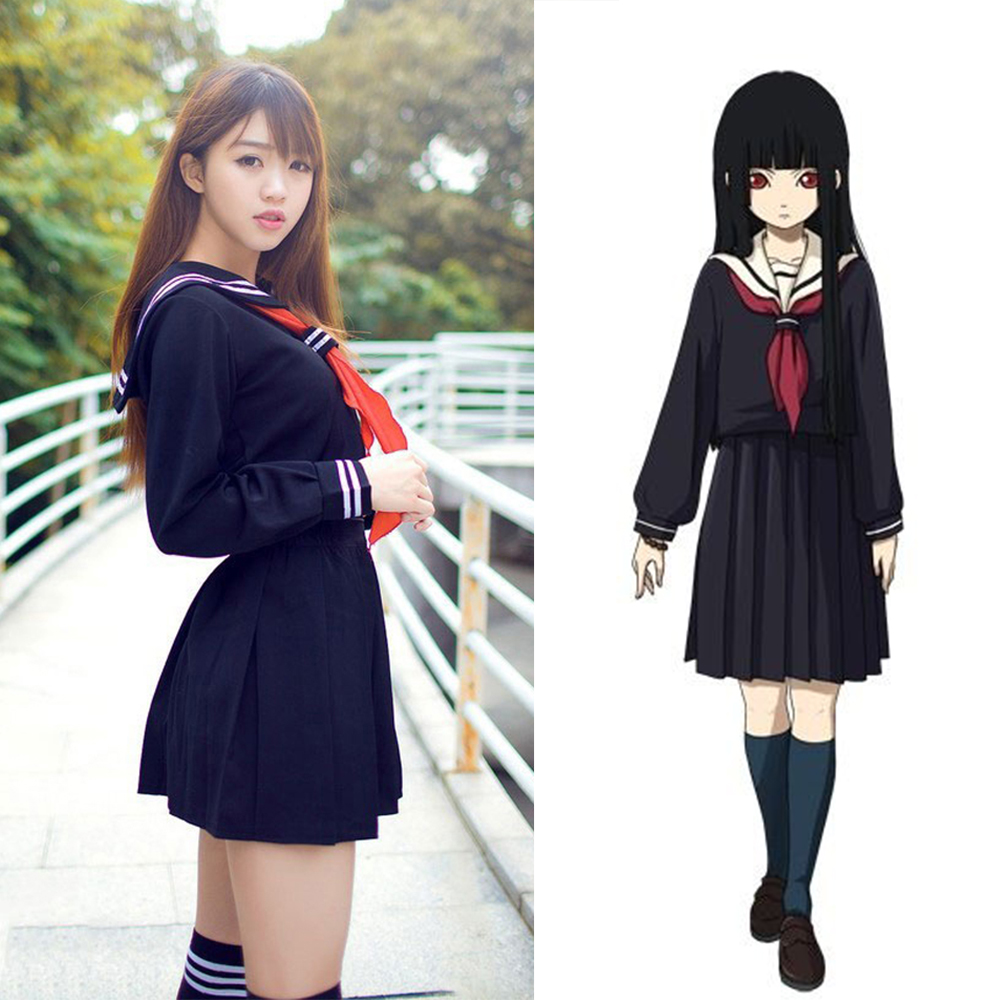 anime hell girl cosplay costume school sailor uniform suit