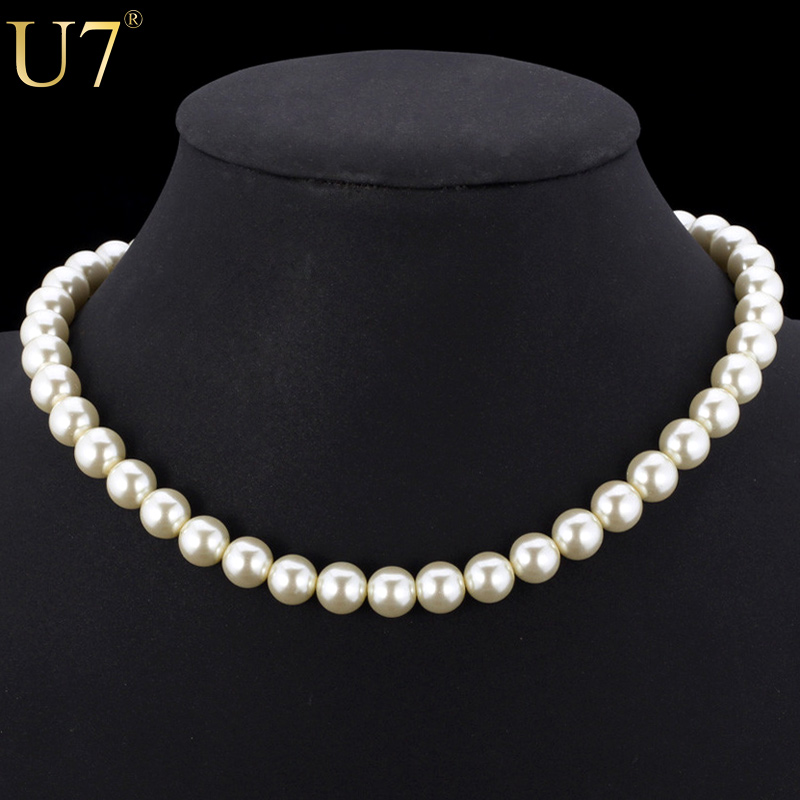 U7 Simulated Pearl Necklace <font><b>Items</b></font> Trendy Fashion Jewelry Wholesale Resizable Black/White Pearl Choker Necklaces Women Gift N369