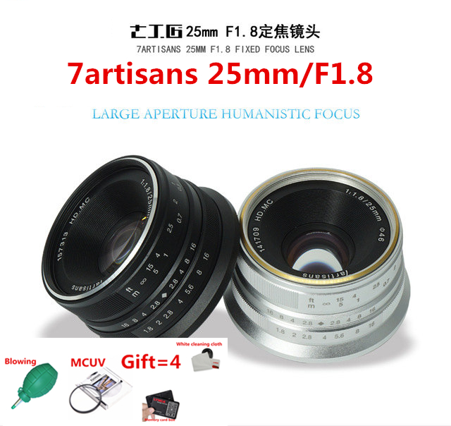 7artisans 25mm/F1.8 Prime Lens to All Single Series for E Mount EOS-M Mout/ for Micro4/3 Cameras A6300 NEX-6 XA3 XA10 XT2 EM10II 7artisans 25mm f1 8 prime lens to all single series for e mount canon eos m mout micro 4 3 cameras a7 a7ii a7r free shipping