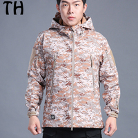 Breathable Waterproof Hooded Fleece Softshell Jackets Men Camouflage TAD Military Jacket Coat 170216