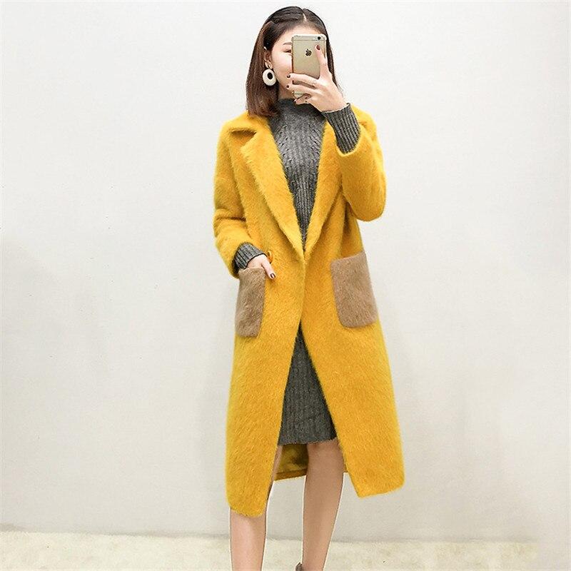 Lâche Femmes Femelle Moyen Slim Dames Automne De Genou Une Yellow Veste Hiver 2018 Survêtement Long Manteau Boucle Nouveau Cw161 Laine Sur Bq50p5gx