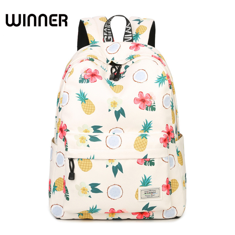 Simple Qualities Comfortable Girl Waterproof Polyester Backpacks Cute Pineapple Printing Female Students Backpack Bag