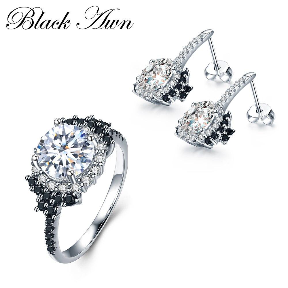 [BLACK AWN] 925 Euro stříbrné jemné šperky sady módní - Šperky