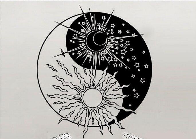 Sun and moon yin yang symbol for Decoration murale yin yang