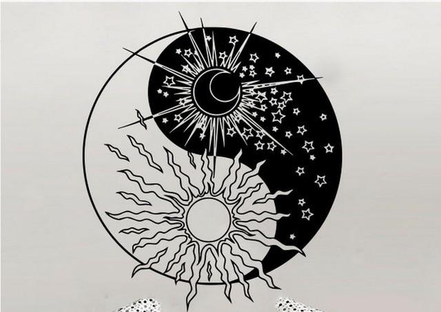 Yoga Wall Decal Sun Moon Sunshine Stars Crescent Dual