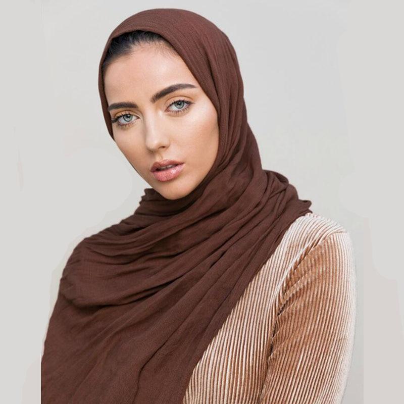 LMLAVEN Women Crinkle Hijab Luxury 100% Rayon Scarf Wrinkle Shawl Solid Color Scarves Muslim Wrap Muffler Large Size 180*95cm