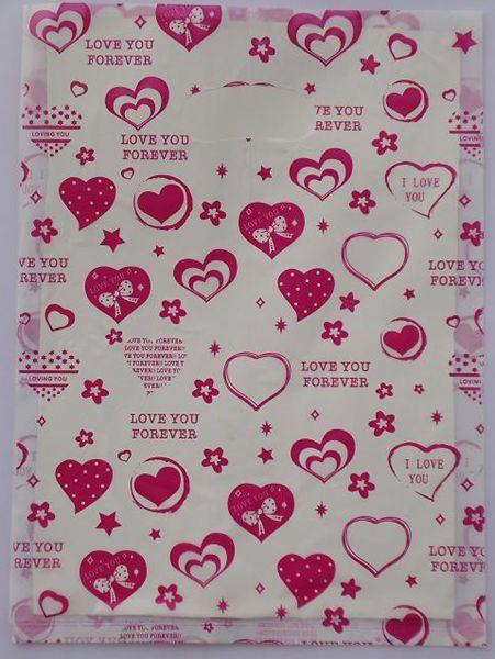 500pcs/lot Free shipping Peach heart butterfly knot Plastic <font><b>bags</b></font> Wholesale Carrier <font><b>bags</b></font> Packing <font><b>shopping</b></font> <font><b>bags</b></font> 20*15cm 015020010
