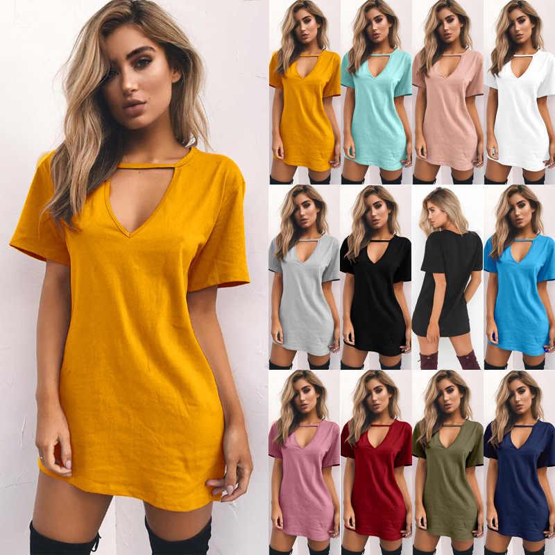 Tshirt 여성 2020 새로운 여름 뜨거운 판매 섹시한 v 목 shortsleeve 느슨한 캐주얼 긴 t 셔츠 여성 vestidos dropshipping nxb1170
