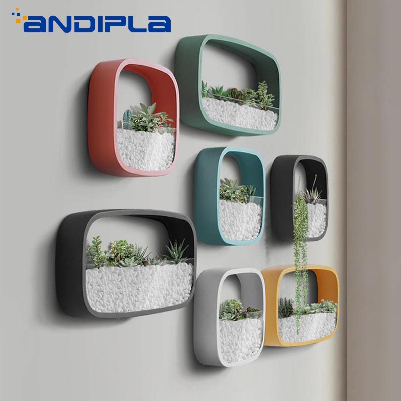 Simple Wall Vase Succulent Plant Potted Wall mounted Multifunction Square Iron Glass Flower Pot Creative Bonsai