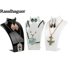 Купить с кэшбэком Rasalhaguer Luxury Mannequin 6PCS Necklace and Earrings Jewelry Pendants Display Stand Holder Shelf 3 Colors L21*W13.5*H7.5CM