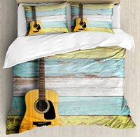 Music Decor Duvet Cover Set Acoustic Guitar on Colorful Painted Aged Wooden Planks Rustic Country Decor 4 Piece Bedding Set