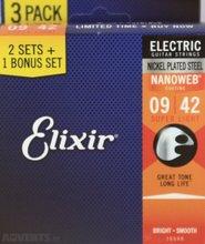 Elixir Strings 16540 Electric Guitar Strings with NANOWEB Coating, 3 Pack of 12002, Super Light (.009-.042)