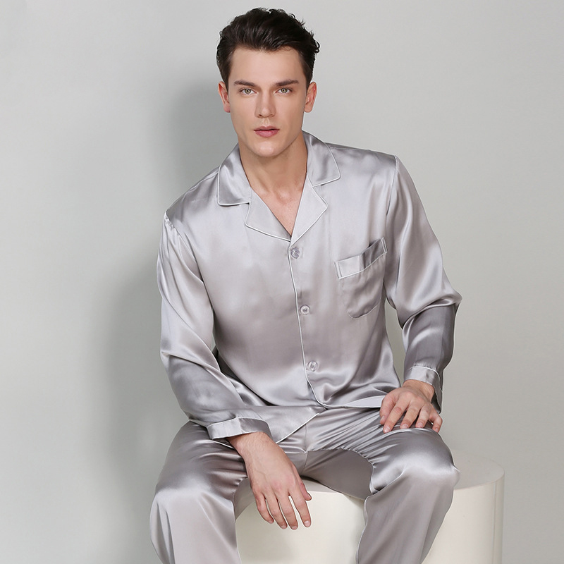 Man's Long Sleeve Genuine Silk Pajamas 19MM Heavy Silk Pyjama Sets 100% Silkworm Silk Sleepwear Male Solid Color T9002-ZB