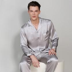 Man's Long Sleeve Genuine Silk Pajamas 19MM Heavy Silk Pyjama Sets 100% Silkworm Silk Sleepwear Male Solid Color T9002-ZB