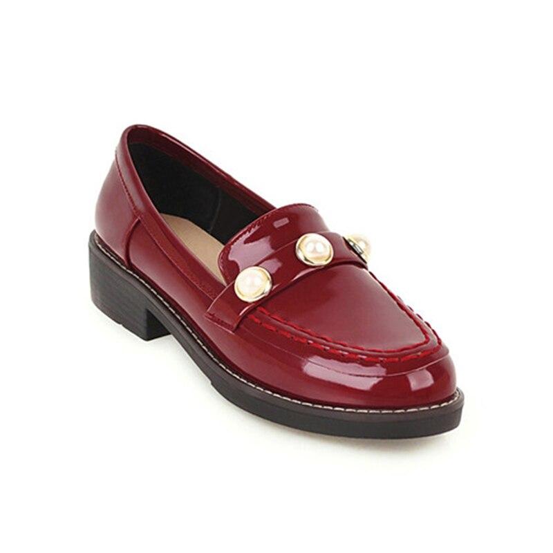 Flache Damenschuhe Schuhe Initiative Casual Pu Boot Schuhe Müßiggänger Spitze-up Runde Kappe Patent Leder Müßiggänger Gummi Oxfords Slip-auf Niet Leder Patent Perle Oxford Ausreichende Versorgung