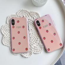 Blue light IMD Funda for iphone X Case Summer Fruit Strawberry Phone 6 6S 7 8 Plus 10 XR XS Max Cover Capa