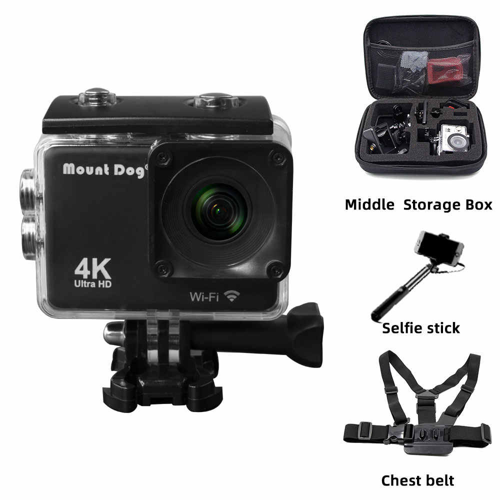 Pergi Mountdog Pro Aksi Olahraga Kamera Video Ultra HD 4K WIFI Remote Control Kamera Camcorder DVR DV Tahan Air aksesoris