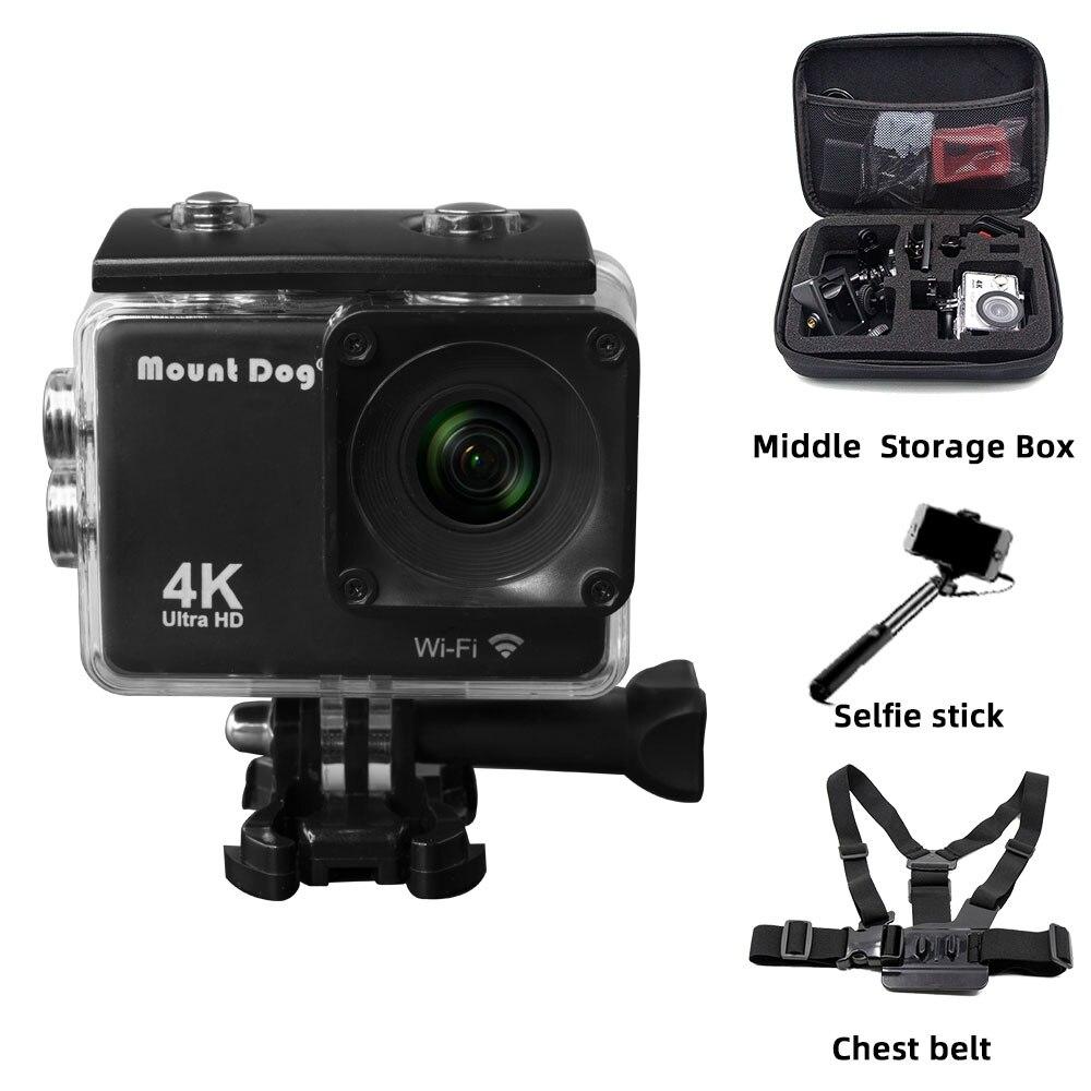 Go MountDog Pro Action Sports Video Camera Ultra HD 4K WiFi Remote Control Camera Camcorder DVR DV Waterproof Case Accessories