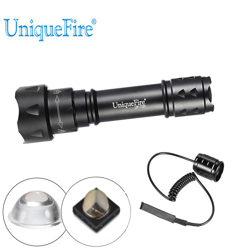 LED Flashlight UniqueFire T20 IR 940NM 38mm Focus Lens Adjustable 3 Modes 18650 Lantern+Remote Pressure For Remote Control uniquefire 1508 75 cree xml xml2 led flashlight torch 1200lm single file lantern 18650 adjustable focus for camping