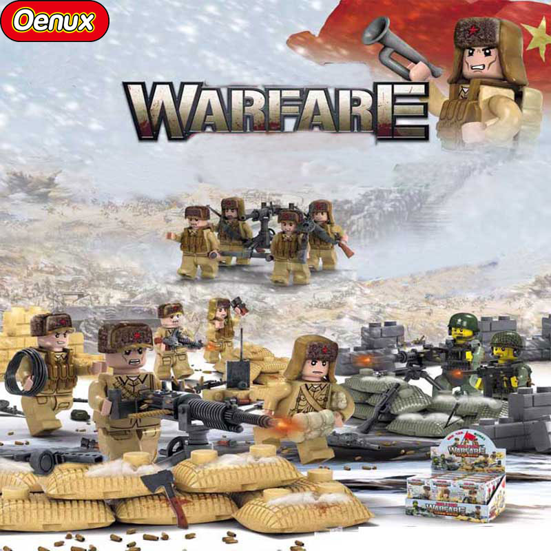 Oenux Military War to Resist US Aggression and Aid Korea Scenes Bricks 6PCS People's Leberation Army Figures Building Block Toys