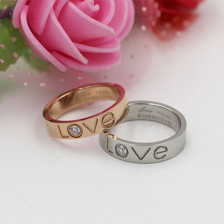 2017 hot sell Korean LOVE letters with cz ring fashion lovers titanium steel rose gold finger wedding love ring