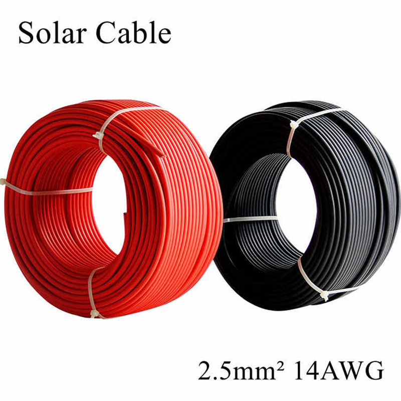 2.5mm2 14AWG MC4 Solar Cable Red and Black Pv Cable Wire Copper Conductor XLPE Jacket TUV Certifiction For PV Panels Connection ethernet cable