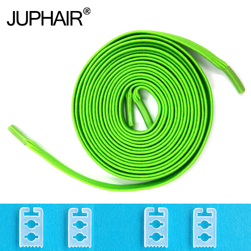 JUP 1-50 Pair Green Lock Without Tie Lazy Laces Sneakers Elastic Laces for Adults and Ehildren Eafe Elastic Lace Shoe Sord Sport