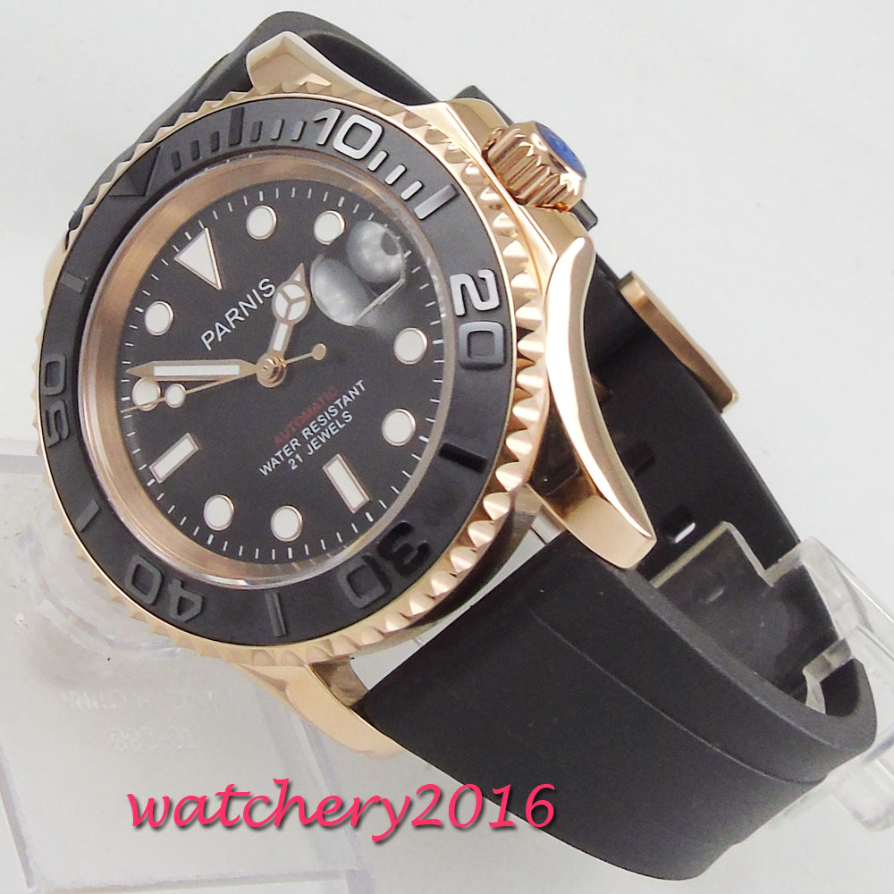 41mm PARNIS Black Dial Sapphire Glass Luminous Marks Luxury Rotating Ceramic Bezel Rose Golden Automatic Mechanical