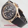 Мужские часы PARNIS  автоматические механические часы с черным циферблатом  41 мм  сапфировым стеклом  светящимися метками  роскошный вращающий...