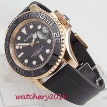 41mm PARNIS Black Dial Sapphire Glass Luminous Marks Luxury Rotating Ceramic Bezel Rose Golden Automatic Mechanical men's Watch