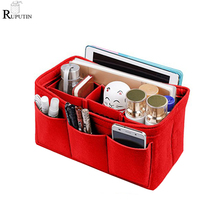 RUPUTIN Felt Cloth Makeup Bag Organizer Insert Women Travel Cosmetic Storage Bags Girl Toiletry Liner Multi-pocket Mummy