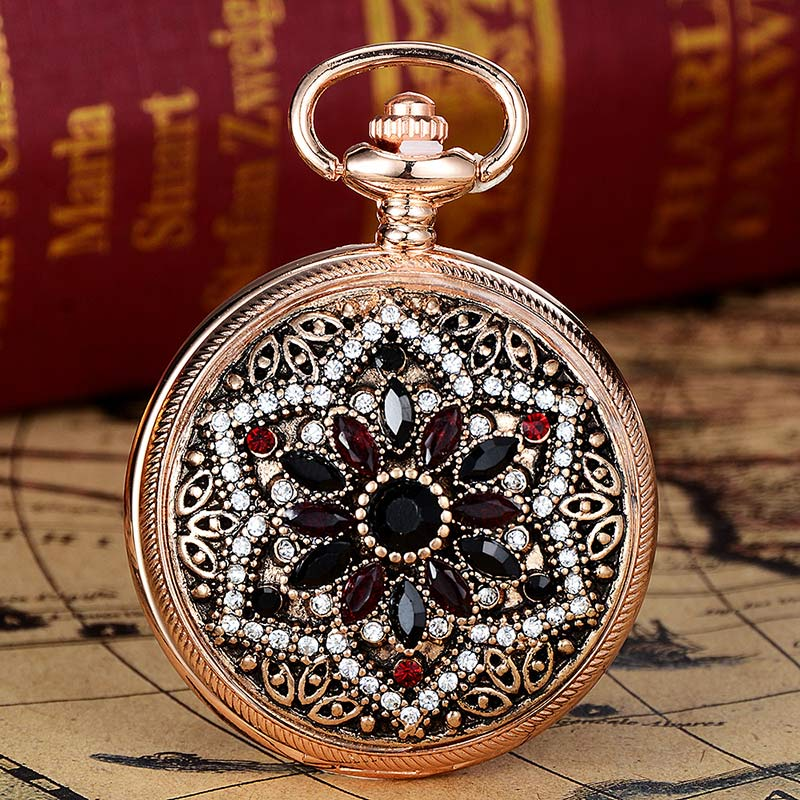 Gold Vintage Women Diamond Carved Pocket Watch Without Chain Jewelry Watch For Women Gift XR2401   LL@17
