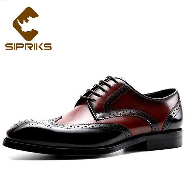 fc8e7fde7dde Sipriks Mens Brogues Shoes Classic Man Shoes Oxfords Wingtip Dress Shoes  Business Formal Gents Suit Leather