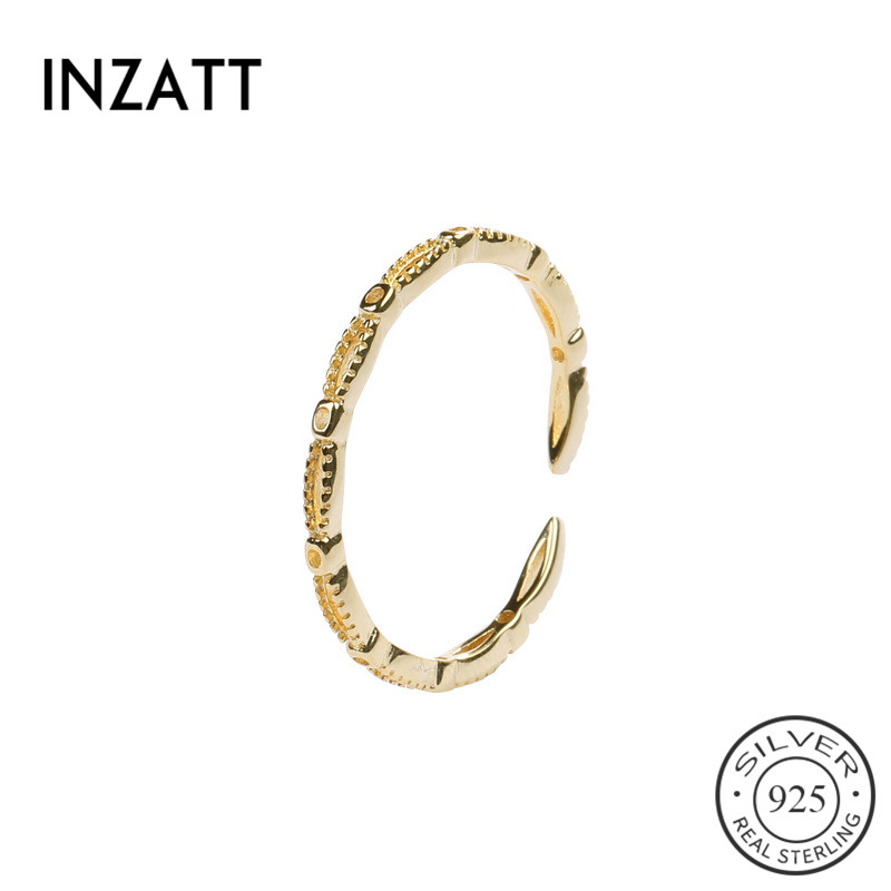 INZATT Real 925 Sterling Silver Minimalist Hollow Opening Ring For Fashion Women Party Fine Jewelry Exquisite Ring Accessories