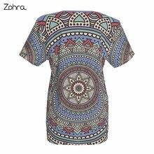 Retro Fashion Women Short Sleeve t shirt Mandala Dots