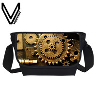VEEVANV Men Messenger Bags Vintage Mechanics 3D Printing Handbags Fashion School Bookbag Boys Crossbody Bag Postman
