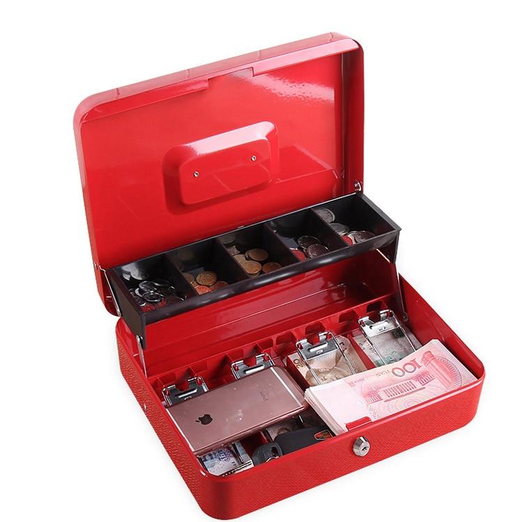 Portable Safes Cash Box Money Drawer Key Lock Password Lock Safe Lock Tiered Tray Security Storage Box Size 30 x 24 x 9cm (3)