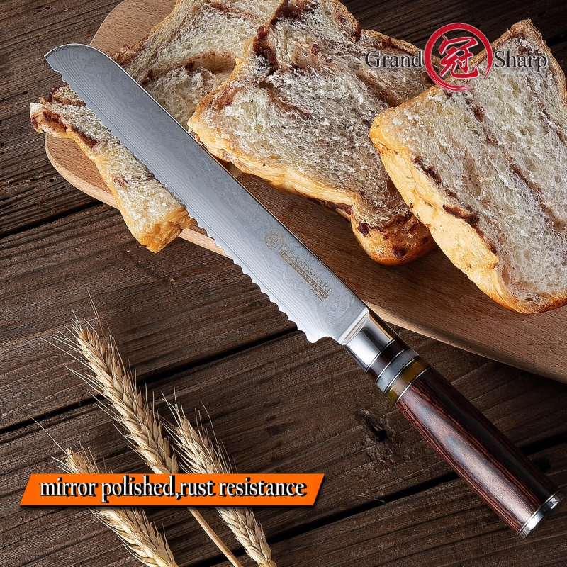 8 Japanese Damascus Bread Knife vg10 Cutting Core 67 Layer Damascus Bread Knife Cake Slicing Bakery