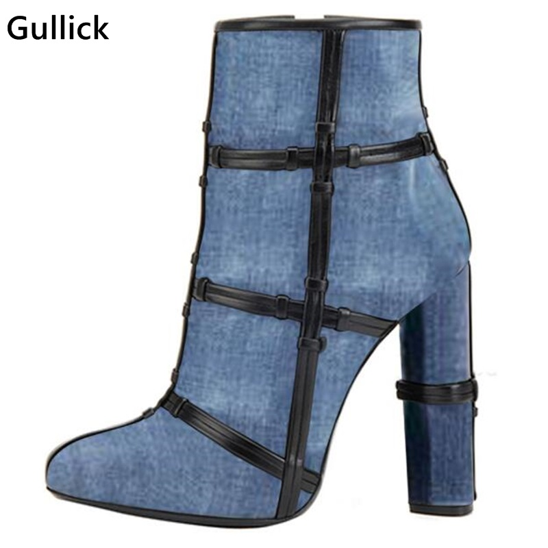 Riband Hot Selling Women Denim Riding Fall Winter Boots High Heel High Quality Ankle Boots Round Toe Chunky Heels Cheap Price 2017 fall winter blue denim short sandal boots front back lace up open toe ankle boots brown black high heel high top sandals