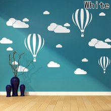 The new hot air balloon white clouds living room bedroom carved wall stickers creative paper - Home Decoration Art Wall Sticker(China)