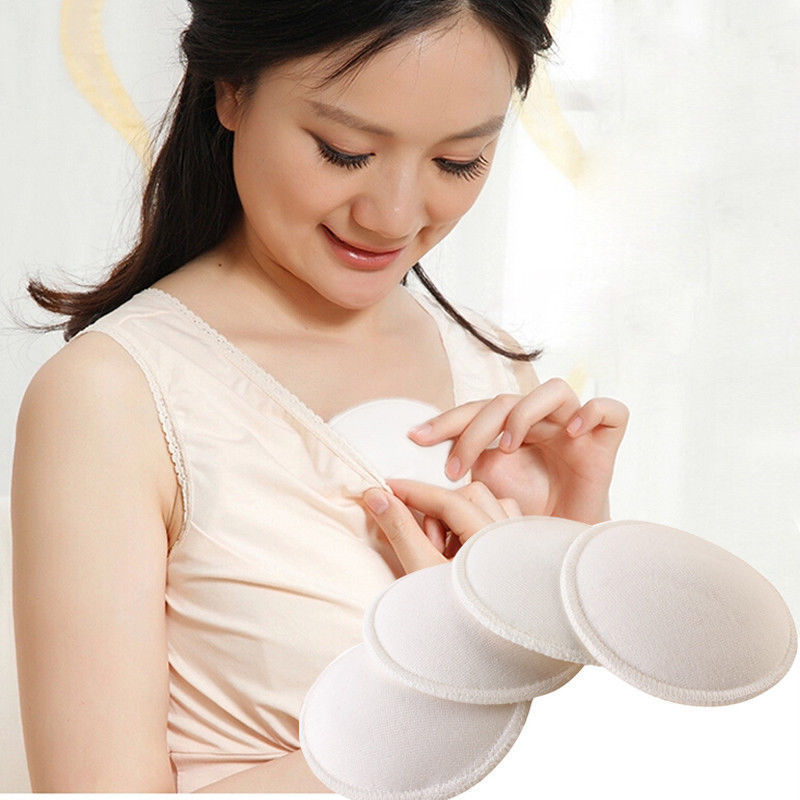 Hot 4x Feeding Washable Reusable Breast Nursing Pads Terry Solid Cotton Absorbent Breastfeeding