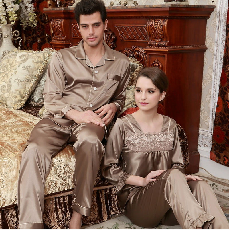 Pajamas set for couples imitated silk elegant lace square collar brown  nightgown 86dbc5210