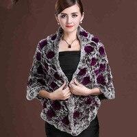 ZDFURS *Ladies elegant long real rex rabbit fur cape winter new fashion rose flower natural fur shawl , pashmina for women