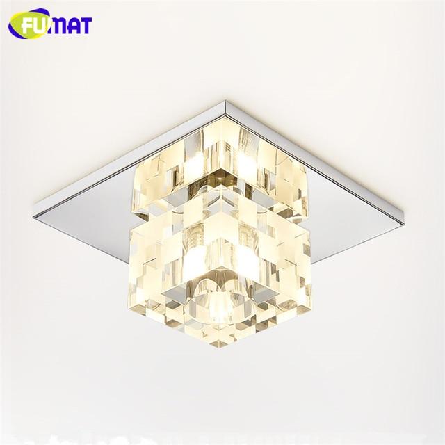 FUMAT Square Crystal Ceiling Light Foyer LED Crystal Ceiling Lamp 5W Corridor Aisle Lamparas de techo Lustre Decor Ceiling Light