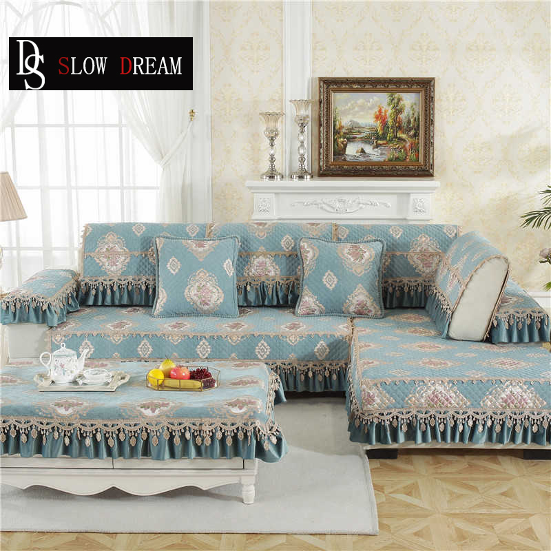 Sofa Cover Couch Light Blue Luxury Lace