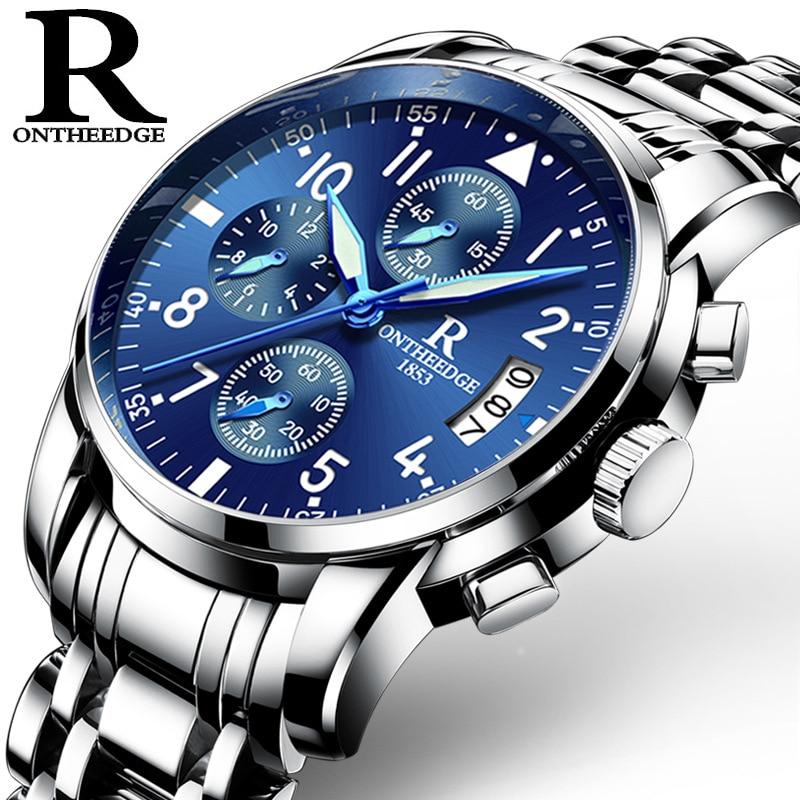 Está quente! Marca de luxo relógios masculinos cronógrafo esportes relógios à prova dwaterproof água aço sólido completo relógio quartzo relogio masculino