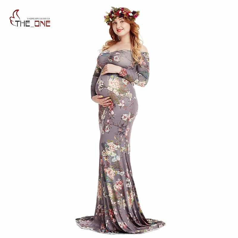 daf0f5ac4f87b MUABABY Women Floral Maternity Dresses Long Sleeve Ruched Shoulderless Maxi  Evening Pregnant Clothes for Photography Baby Shower